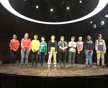 Haverstock school drama students on stage at almeida