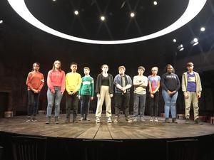 Haverstock school drama students on stage at almeida