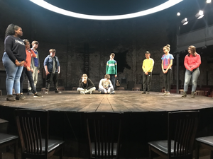 Haverstock school students on almeida theatre stage