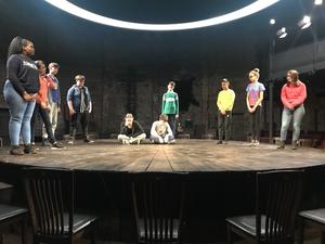 Haverstock school students on almeida theatre stage
