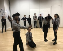 Haverstock school students rehearsing for almeida theatre performance