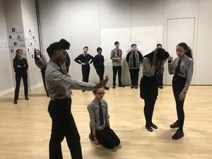 Haverstock school students rehearsing for almeida theatre performance