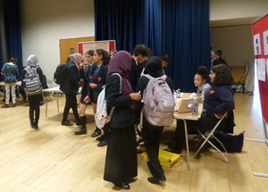 Haverstock school camden science fair guests taking an interest