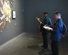 Students from haverstock school in camden visit the manga exhibition as part of their bronze arts award qualification