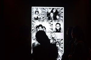 Haverstock school students from camden visit the manga exhibition as part of their bronze arts award qualification