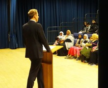Haverstock secondary school camden open evening for year 7 admissions a talk by headteacher james hadley