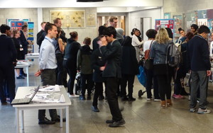 Haverstock secondary school camden open evening for year 7 admissions looking at the stalls