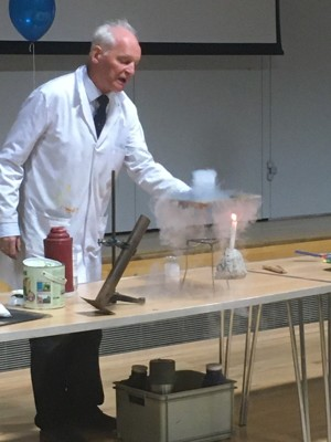 Dr szydlo performs his chemistry show for year 9 students at haverstock school camden london 31 oct 2019