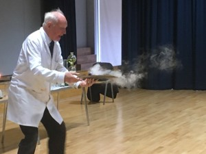Leading chemist and academic dr szydlo performs for year 9 students haverstock school camden london