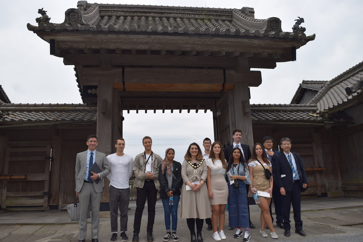 Sixth form students from haverstock sixth form camden london with other students and mayor of camden visit to japan october 2019