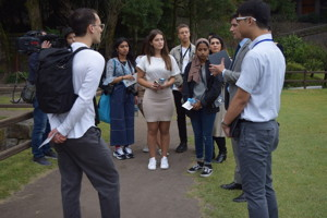 Sixth form students from haverstock sixth form camden london being filmed while on visit to japan october 2019