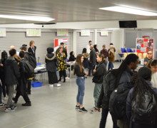 Haverstock sixth form camden london open evening 2019 visitors and students discuss a level subjects and sixth form life in camden