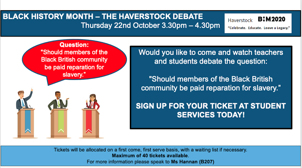 Haverstock school bhm2020 debate poster