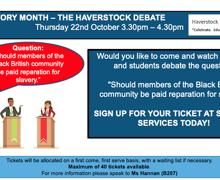 Haverstock school bhm2020 debate poster